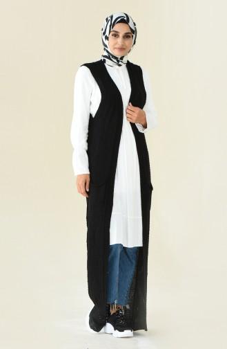 Long Vest Tricot Black 8116-03