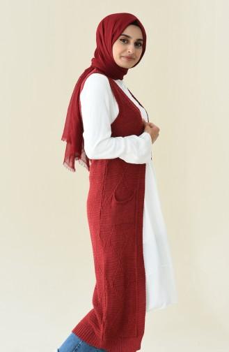 Long Vest Tricot Claret Red 8116-04