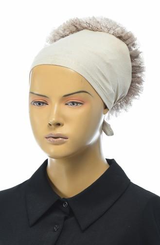 Bonnet mit Volant  7001-14 Beige 7001-14