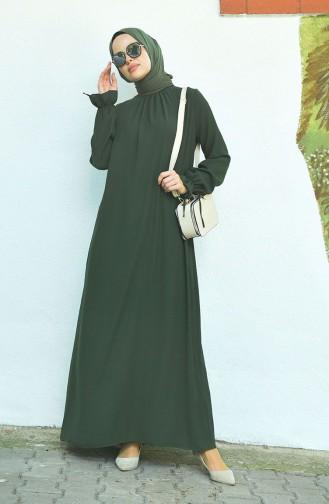 Sleeved Pleated Dress Khaki 8013-02