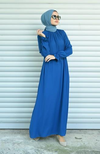 فستان بأكمام مطوية نيلي 8013-06