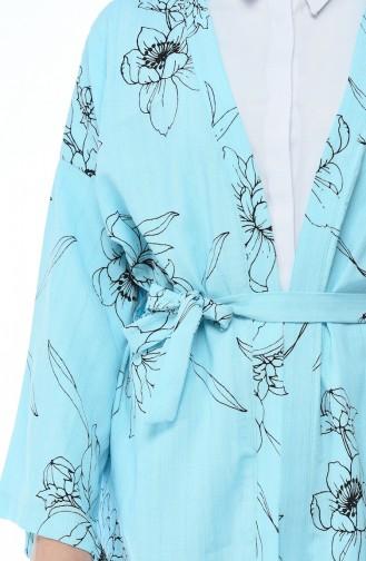 Kimono a Motifs 0006-01 Bleu Menthe 0006-01