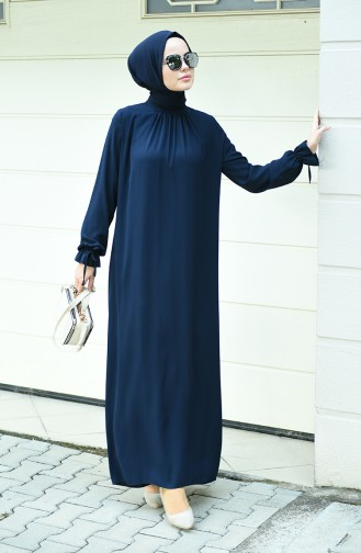 Sleeved Pleated Dress Navy Blue 8013-01