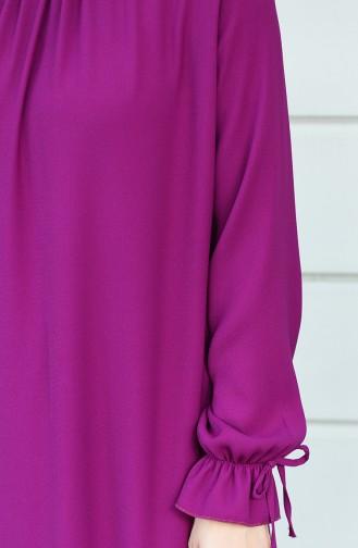 Robe Froncée Manches élastique 8013-07 Plum 8013-07