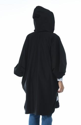 معطف أكمام خفاش أسود 5003B-01