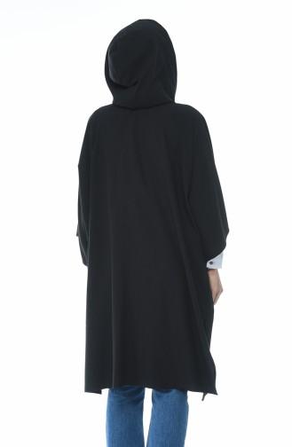 معطف ذو قبعة وأكمام خفاش أسود 5004-01