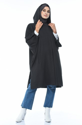 Hooded Bat Sleeve Poncho Anthracite 5004-02