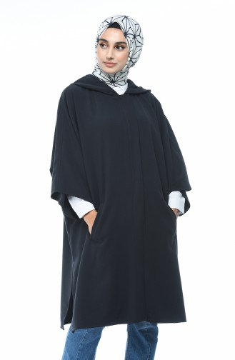 Hooded Bat Sleeve Poncho Navy Blue 5004-05