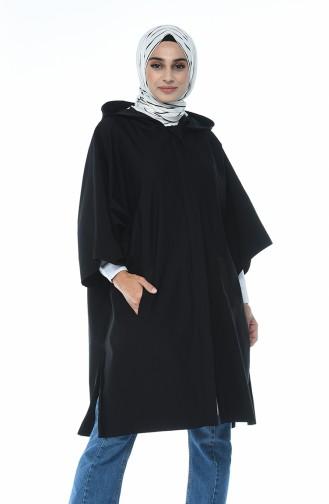 Kapüşonlu Yarasa Kol Panço 5004A-02 Siyah