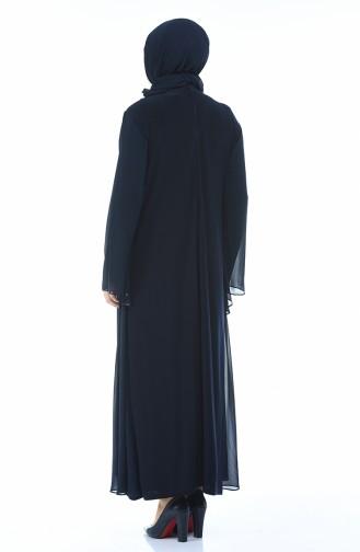 Dunkelblau Hijab-Abendkleider 0108-01