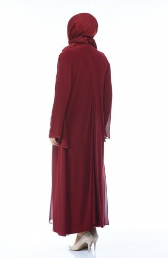 Weinrot Hijab-Abendkleider 0108-02