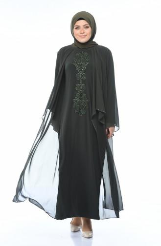 Büyük Beden Dantelli Abiye Elbise 0108-03 Haki