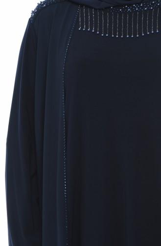 Dunkelblau Hijab-Abendkleider 1012-01