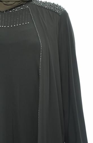 Khaki Islamic Clothing Evening Dress 1012-02