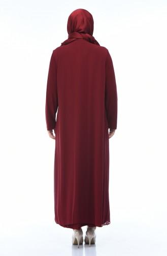 فساتين سهرة بتصميم اسلامي أحمر كلاريت 1012-03