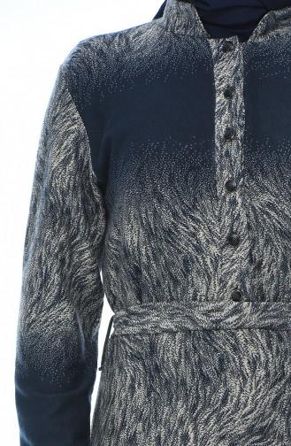 Büyük Beden Jakarlı Kuşaklı Elbise 7689A-04 Lacivert