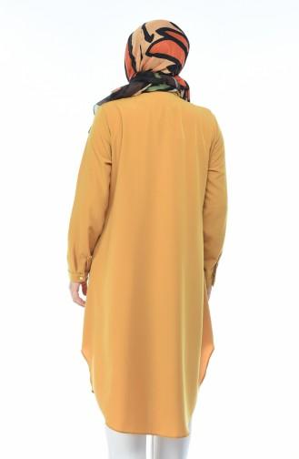 Büyük Beden Gömlek Yaka Tunik 5361-08 Hardal