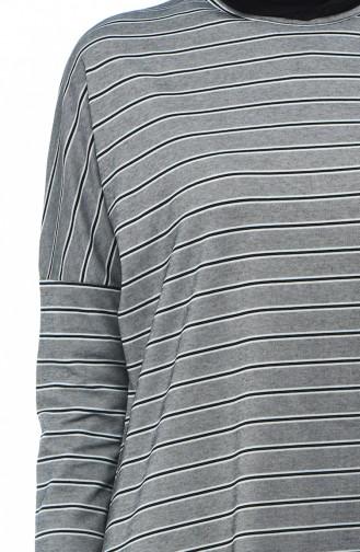 Bat Sleeve Striped Tunic Gray 7920-01