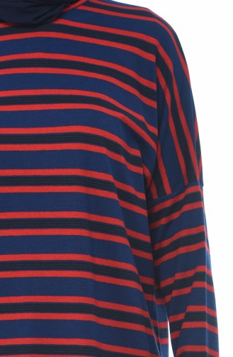 Bat Sleeve Striped Tunic Navy Blue Red 7921-01