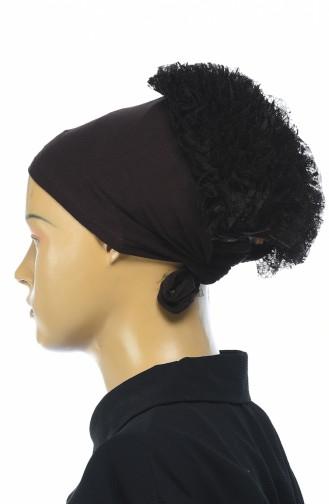 Bonnet mit Volant  7001-19 Braun 7001-19