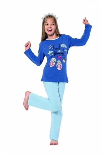 Ensemble Pyjama Pour Enfant Fille 6120 Bleu Roi 6120