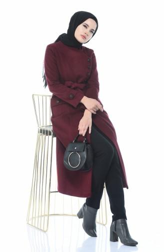 معطف طويل أحمر كلاريت 5495-03