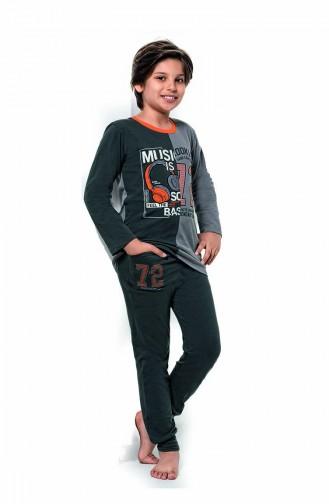 Jungen Langarm Pyjama Set 5116 Anthrazit 5116