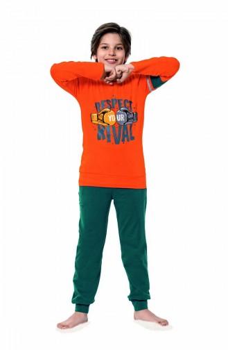 Jungen Langarm Pyjama Set 5117 Orange 5117