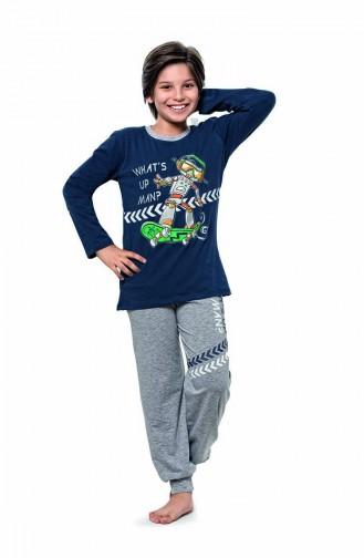 Erkek Çocuk Uzun Kol Pijama Takımı 5119 İndigo
