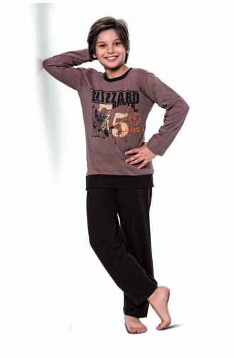 Erkek Çocuk Uzun Kol Pijama Takımı 5122 Kahverengi