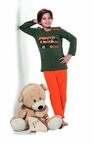 ملابس نوم للأطفال أخضر حشيشي 5123