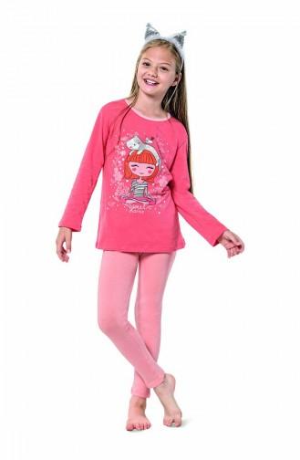 Mädchen Langarm Schlafanzug Set 6111 Hell Puder Rosa 6111