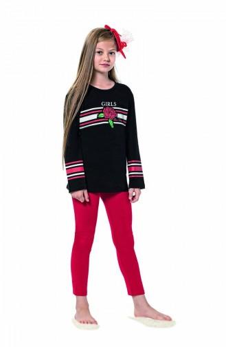 Ensemble Pyjama Pour Enfant Fille 6112 Siyah 6112