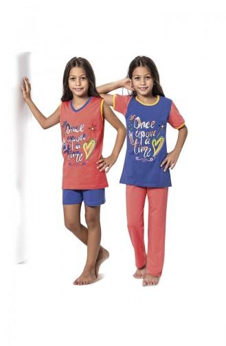ملابس نوم للأطفال برتقالي وردي 7052