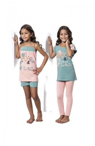 ملابس نوم للأطفال أخضر 7054
