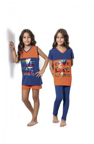 Orange Kids Pajamas 7056
