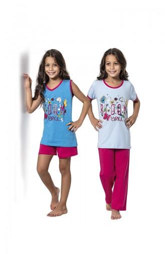 Babyblau Kinderpyjama 7064