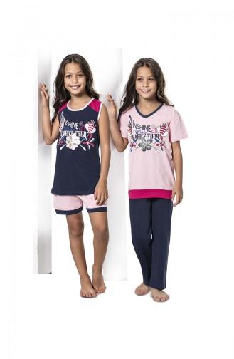 ملابس نوم للأطفال وردي باودر 7068