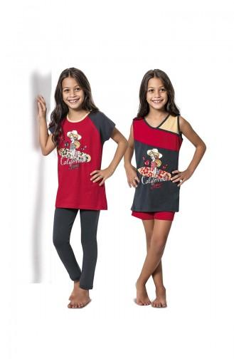 Red Kids Pajamas 7071