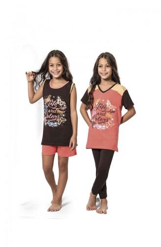 Ensemble Pyjama 4 Pieces Enfant Fille 7073 Brun Orange Pâle 7073