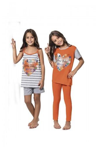 Orange Kinderpyjama 7074