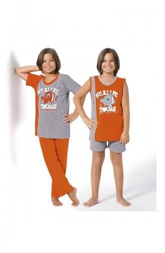 Jungen Schlafanzug 4er Set  8064 Grau Melanj Orange 8064