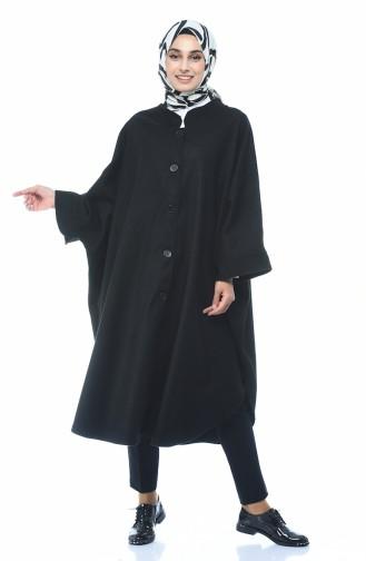 Poncho Hivernal a Boutons 7003-01 Noir 7003-01