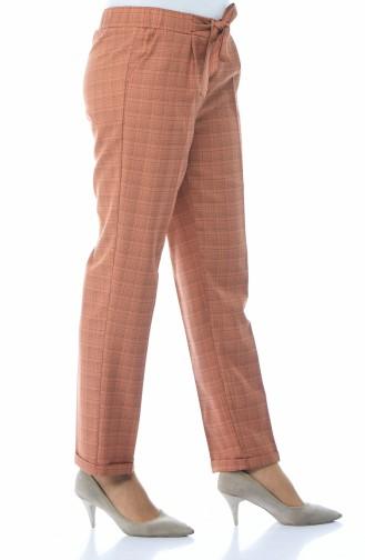 Ekose Desenli Düz Paça Pantolon 1026-03 Taba