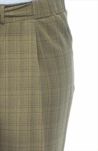 Ekose Desenli Düz Paça Pantolon 1026-04 Haki