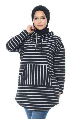 Sportliches Sweatshirt mit Kapuze 9034-01 Schwarz Grau 9034-01