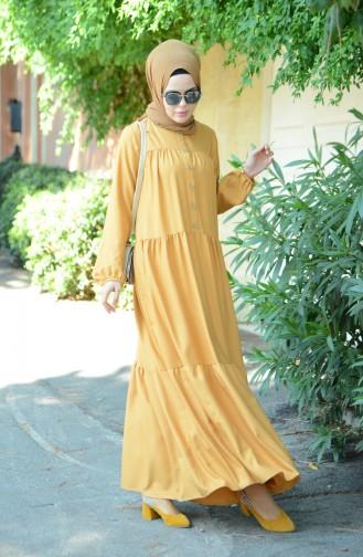 فستان أصفر خردل 8005-08