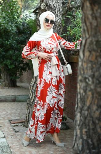 Gemustertes Kleid mit Band 8002-01 Ziegelrot 8002-01