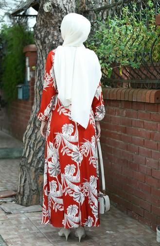 فستان بحزام منقوش بالنخيل قرميدي 8002-01