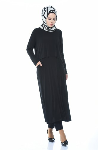 Sandy Cepli Uzun Tunik 4551-01 Siyah